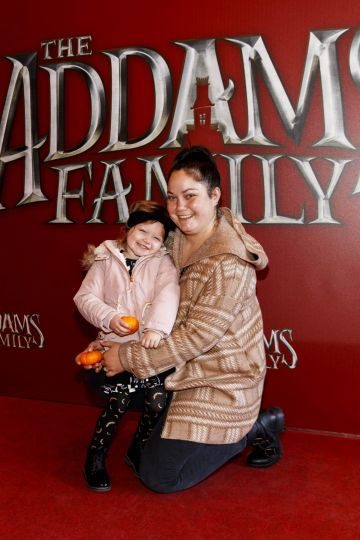 Grace Mongey with daughter Sienna (3) pictured at a special preview screening of The Addams Family at the Light House Cinema, Dublin.  Picture: Andres Poveda