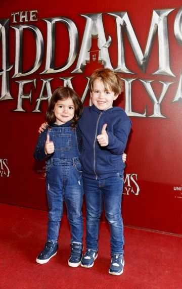 Macie (3) and Alfie Nally (5) pictured at a special preview screening of The Addams Family at the Light House Cinema, Dublin.  Picture: Andres Poveda