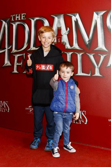 Charlie MCFeeley (10) and George Muldowney (3) pictured at a special preview screening of The Addams Family at the Light House Cinema, Dublin.  Picture: Andres Poveda