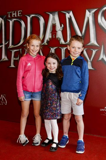 Arianna Lai (8), Sarah Gormley (5) and Tom Gormley (8) pictured at a special preview screening of The Addams Family at the Light House Cinema, Dublin.  Picture: Andres Poveda