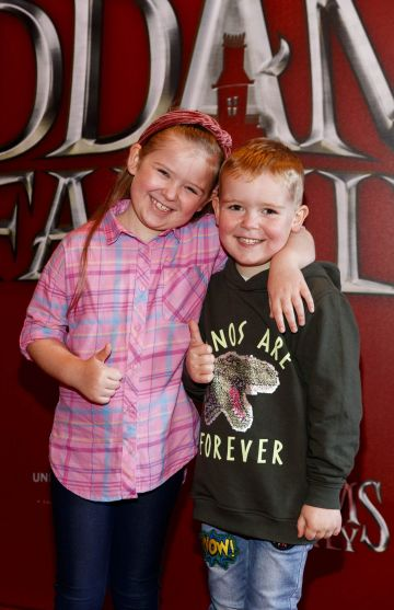 Aoife McCabe (6) and Dylan McCabe (5)pictured at a special preview screening of The Addams Family at the Light House Cinema, Dublin.  Picture: Andres Poveda