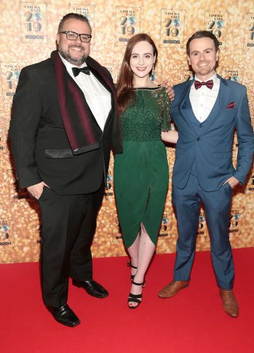 Rory Cashin,Justine Stafford and Paul Donegan pictured at the Irish Cinema Ball 2019 in aid of the Irish Cinematograph Trade Benevolent Fund (ICTBF ) at The Shelbourne Hotel, Dublin This year's theme was the iconic 'Studio 54'. Pic: Brian McEvoy.