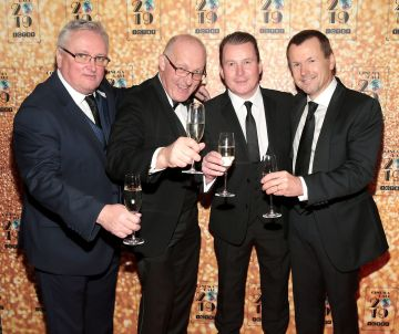 Mick McKenna, David Good , Pat Boylan and Neil Marshall pictured at the Irish Cinema Ball 2019 in aid of the Irish Cinematograph Trade Benevolent Fund (ICTBF ) at The Shelbourne Hotel, Dublin This year's theme was the iconic 'Studio 54'. Pic: Brian McEvoy.