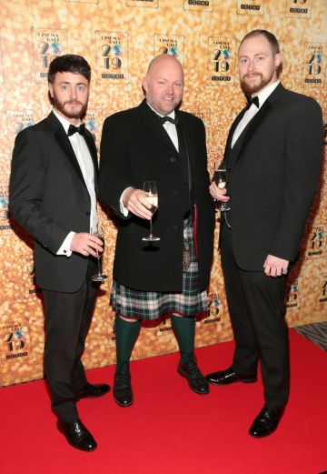 Darragh Fitzgerald,Duncan McKenzie and Sean Corcoran  pictured at the Irish Cinema Ball 2019 in aid of the Irish Cinematograph Trade Benevolent Fund (ICTBF ) at The Shelbourne Hotel, Dublin This year's theme was the iconic 'Studio 54'. Pic: Brian McEvoy.