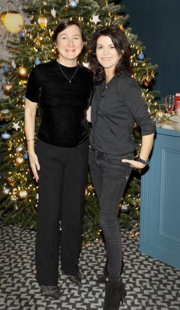 Kari Daniels and Deirdre O'Kane at the Tesco 2019 Christmas Showcase in Dublin's Iveagh Garden Hotel.   Photo: Kieran Harnett