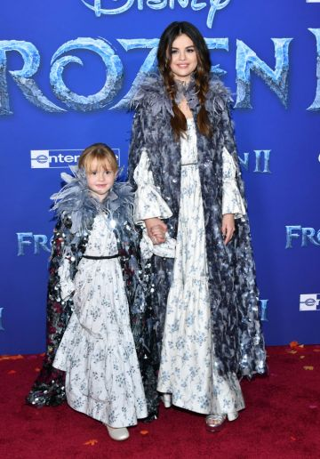 """Gracie Teefey and Selena Gomez attend the premiere of Disney's """"Frozen 2"""" at Dolby Theatre on November 07, 2019 in Hollywood, California. (Photo by Amy Sussman/Getty Images)"""