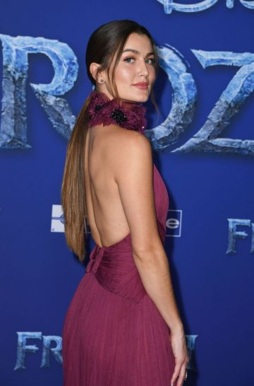 """US actress Rachel Matthews arrives for Disney's World Premiere of """"Frozen 2"""" at the Dolby theatre in Hollywood on November 7, 2019. (Photo by VALERIE MACON/AFP via Getty Images)"""