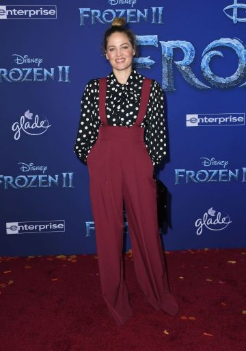 """US actress Erika Christensen arrives for Disney's World Premiere of """"Frozen 2"""" at the Dolby theatre in Hollywood on November 7, 2019. (Photo by VALERIE MACON/AFP via Getty Images)"""