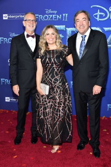 """(L-R) Chris Buck, Jennifer Lee, Chief creative officer of Walt Disney Animation Studios and Peter Del Vecho attend the premiere of Disney's """"Frozen 2"""" at Dolby Theatre on November 07, 2019 in Hollywood, California. (Photo by Amy Sussman/Getty Images)"""