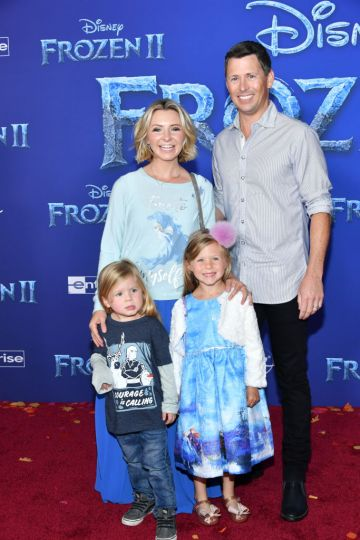 """Beverley Mitchell, Michael Cameron, Hutton Michael Cameron and Kenzie Cameron attend the premiere of Disney's """"Frozen 2"""" at Dolby Theatre on November 07, 2019 in Hollywood, California. (Photo by Amy Sussman/Getty Images)"""