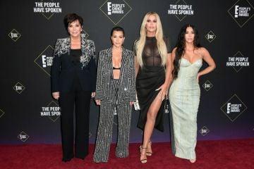 Kris Jenner, Kourtney Kardashian, Khloé Kardashian and Kim Kardashian attend`Kim Kardashian the 2019 E! People's Choice Awards at Barker Hangar on November 10, 2019 in Santa Monica, California. (Photo by Frazer Harrison/Getty Images)