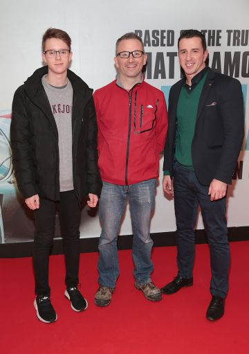 Alex Zak, Karl Lyons and Lukas Zak pictured at the special preview screening of Le Mans '66 at Cineworld, Dublin. Photo: Brian McEvoy.