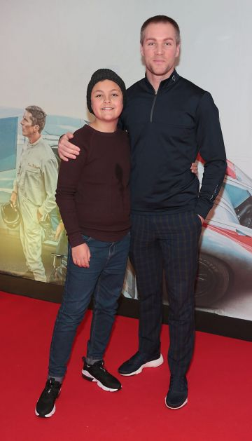 Jackson Kaneswaran and Henry Daly pictured at the special preview screening of Le Mans '66 at Cineworld, Dublin. Photo: Brian McEvoy.
