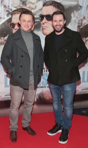 Robbie Walsh and Andy Kavanagh pictured at the special preview screening of Le Mans '66 at Cineworld, Dublin. Photo: Brian McEvoy.
