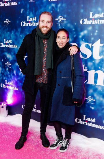 Sean Stevens and Sarah Toolan pictured at the Universal Pictures Irish premiere screening of Last Christmas at the Light House Cinema, Dublin.  Picture: Andres Poveda
