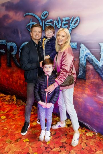 "Brian Ormond and Pippa O'Connor with sons Ollie and Louis pictured at the special preview screening of Disney's ""Frozen 2"" at the Light House Cinema,  Dublin.  Picture Andres Poveda"