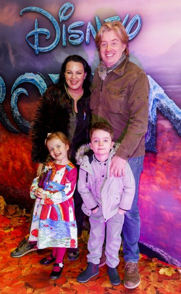 "Triona McCarthy with husband William White and children Mini and Max pictured at the special preview screening of Disney's ""Frozen 2"" at the Light House Cinema, Dublin.  Picture Andres Poveda"