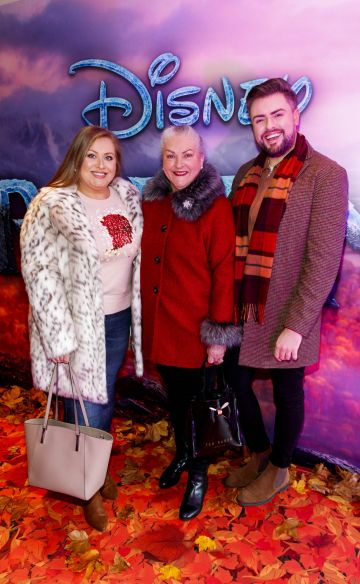 "Vanessa and Fron Butler and James Patrice pictured at the special preview screening of Disney's ""Frozen 2"" at the Light House Cinema, Dublin.  Picture Andres Poveda"