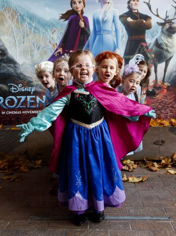 "Little Elsa's Molly Younger (4), Alanah Foran (4), Lauren Rose McDonald (4), Molly Smith (5) Keeelan Foley (5) Maddie Blake (6) waiting patiently for the doors to open at the special preview screening of Disney's ""Frozen 2"" at the Light House Cinema, Dublin.  Picture Andres Poveda"