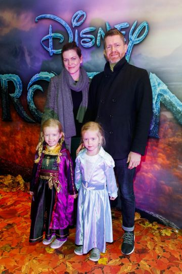 "Katherine Drohan and Scott Burnette with Kate and Panny Burnett (5) pictured at the special preview screening of Disney's ""Frozen 2"" at the Light House Cinema, Dublin.  Picture Andres Poveda"