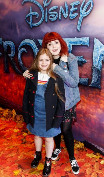 "Lolsy Byrne with Ella Confrey (9) pictured at the special preview screening of Disney's ""Frozen 2"" at the Light House Cinema, Dublin.  Picture Andres Poveda"