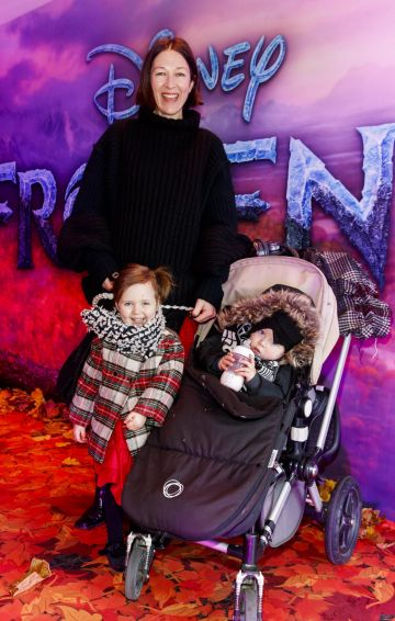 "Natalie B Coleman with Eden (3) Coleman and Odin (19mths) pictured at the special preview screening of Disney's ""Frozen 2"" at the Light House Cinema, Dublin.  Picture Andres Poveda"