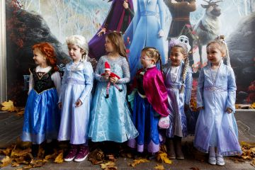 "Little Elsa's Alanah Foran (4), Keeelan Foley (5), Maddie Blake (6), Molly Younger (4), Mollie Smith (5), Lauren Rose McDonald (4), waiting patiently for the doors to open at the special preview screening of Disney's ""Frozen 2"" at the Light House Cinema, Dublin.  Picture Andres Poveda"