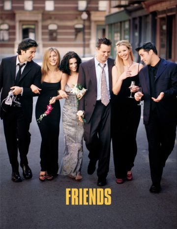 """Cast Members Of NBC's Comedy Series """"Friends."""" Pictured (L To R): David Schwimmer As Ross Geller, Jennifer Aniston As Rachel Cook, Courteney Cox As Monica Geller, Matthew Perry As Chandler Bing, Lisa Kudrow As Phoebe Buffay And Matt Leblanc As Joey Tribbiani.  (Photo By Getty Images)"""