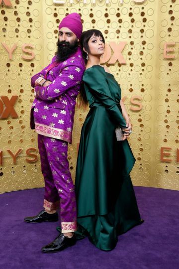 Kanwer Singh aka Humble The Poet and Lilly Singh attend the 71st Emmy Awards at Microsoft Theater on September 22, 2019 in Los Angeles, California. (Photo by Frazer Harrison/Getty Images)