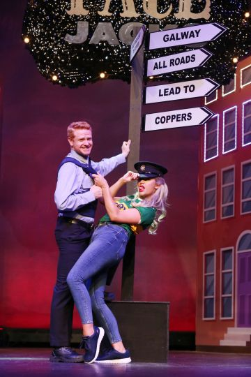 Cast members from Copper Face Jacks The Musical , Rachel O'Connell  (as Lucelita Ni Choncubhair) and  Mark Fitzgerald (as Eamon Godly) pictured on stage at the Olympia Theatre. Photo: Leon Farrell/Photocall Ireland.