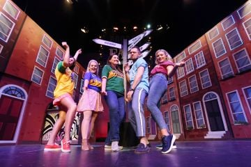 Cast members from  Copper Face Jacks The Musical. Johnny Ward, Michele McGrath, Roseanna Purcell, Rachel O'Connell and Kelly Marie Ni Cheallaigh pictured on stage at the Olympia Theatre  on Thursday 11 July. Photo: Leon Farrell/Photocall Ireland