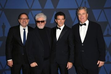 (L-R) Michael Barker, Pedro Almodovar, Antonio Banderas, and Tom Barnard attend the Academy Of Motion Picture Arts And Sciences' 11th Annual Governors Awards at The Ray Dolby Ballroom at Hollywood & Highland Center on October 27, 2019 in Hollywood, California. (Photo by Kevin Winter/Getty Images)
