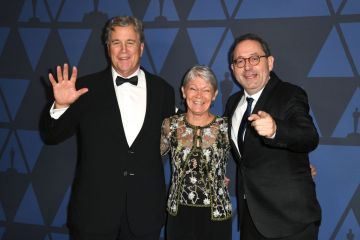 Tom Barnard, Tracy Edwards, and Michael Barker attend the Academy Of Motion Picture Arts And Sciences' 11th Annual Governors Awards at The Ray Dolby Ballroom at Hollywood & Highland Center in Hollywood, California. (Photo by Kevin Winter/Getty Images)