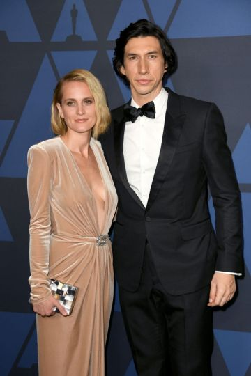 Joanne Tucker and Adam Driver attend the Academy Of Motion Picture Arts And Sciences' 11th Annual Governors Awards at The Ray Dolby Ballroom at Hollywood & Highland Center in Hollywood, California. (Photo by Kevin Winter/Getty Images)