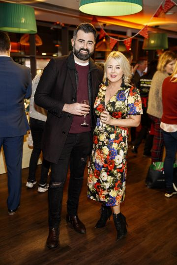 Eamonn Curry and Rebecca Brady pictured at the M&S Christmas Market inspired press show in the M&S Rooftop Café,  Grafton Street to celebrate the M&S Christmas food collection. Picture: Andres Poveda