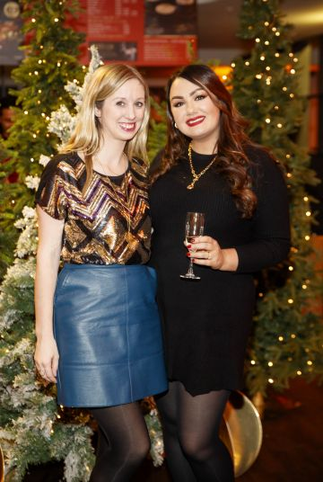 Claire Hyland and Vicki Notaro pictured at the M&S Christmas Market inspired press show in the M&S Rooftop Café,  Grafton Street to celebrate the M&S Christmas food collection. Picture: Andres Poveda