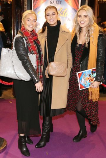 Pictured are (LtoR) Claire Concannon, Katie Moore and Aoife Nolan at the official opening of the Gaiety Theatre Christmas Panto, Aladdin. Aladdin opens at the Gaiety Theatre Sunday 24th November. Photo: Sasko Lazarov/Photocall Ireland
