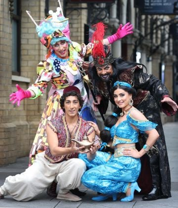 The stellar cast of ALADDIN in full costume as they officially launch this year's Gaiety Panto. Pictured are a stellar cast of favourites including Joe Conlan as 'Widow Twankey' and Nicholas Grennell as 'Abanazer' and the Gaiety Panto also introduce to you West End talent Julian Capolei as 'Aladdin' and the gorgeous 'Suzie Seweify' as 'Princess Jasmine'. Photo: Sasko Lazarov/Photocall Ireland