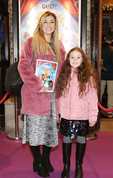 Pictured are (LtoR) Nikki Chaney and Madison Murray at the official opening of the Gaiety Theatre Christmas Panto, Aladdin. Aladdin opens at the Gaiety Theatre Sunday 24th November. Photo: Sasko Lazarov/Photocall Ireland