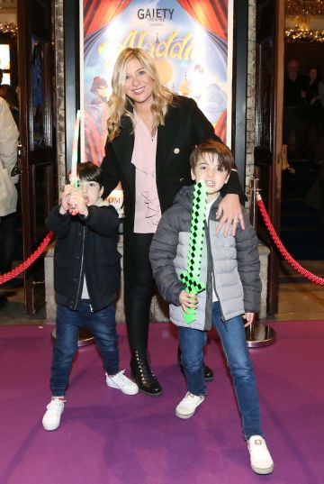 Pictured are (LtoR) Laura Woods with her sons Mark and Ben at the official opening of the Gaiety Theatre Christmas Panto, Aladdin. Aladdin opens at the Gaiety Theatre Sunday 24th November. Photo: Sasko Lazarov/Photocall Ireland