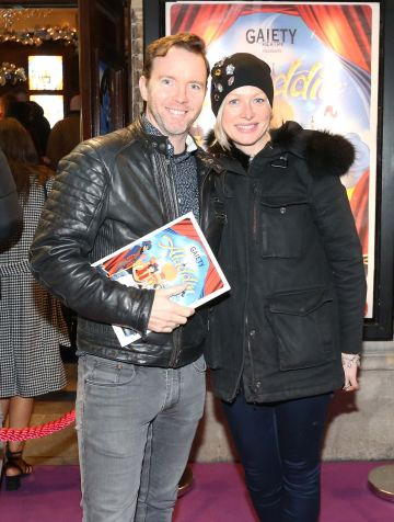 Pictured are (LtoR) Dermot Whelan and his wife Corina Early at the official opening of the Gaiety Theatre Christmas Panto, Aladdin. Aladdin opens at the Gaiety Theatre Sunday 24th November. Photo: Sasko Lazarov/Photocall Ireland