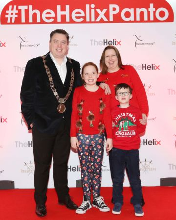 Pictured are (LtoR) Paul Mc Auliffe, Ciara McGaughey, Millie McAuliffe and Hugh McAuliffe at the opening night of The Three Musketeers at The Helix.  Photo: Sasko Lazarov/Photocall Ireland