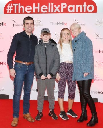 Pictured are (LtoR) Bernard, Pamela, Caoimhe and Finn Dunne at the opening night of The Three Musketeers at The Helix.  Photo: Sasko Lazarov/Photocall Ireland