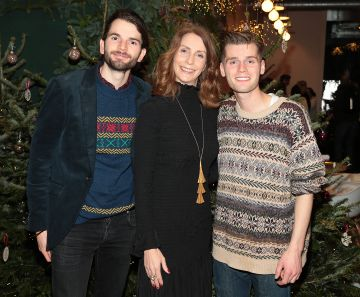 Elaine Carey with Harry and Alfie of Hudson Taylor at the opening of The Connected Restaurant, powered by Three  in Sir John Rogerson Quay Dublin Pic Brian McEvoy