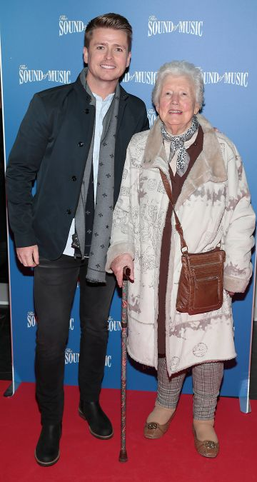 Brian Ormond and his grandmother Josie pictured at the opening night of The Sound of Music at the Bord Gais Energy Theatre, Dublin. Pic Brian McEvoy