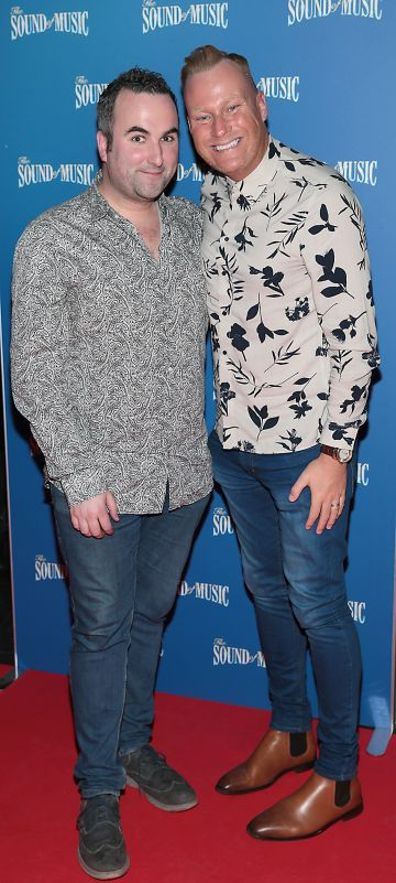 Declan McFadden and Dave Casey pictured at the opening night of The Sound of Music at the Bord Gais Energy Theatre, Dublin. Pic Brian McEvoy