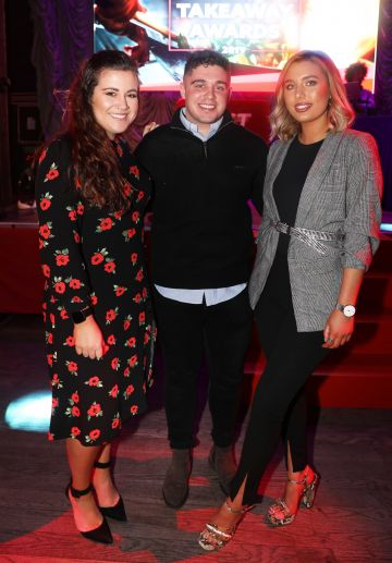 Pictured last night were Sara Granados, Cillian Walsh and Katie Andrew at the sixth annual Just Eat National Takeaway Awards in Dublin's Twenty Two. Photograph: Leon Farrell / Photocall Ireland