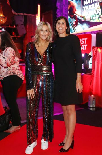 Pictured last night were Cassie Stokes andAmanda Roche-Kelly at the sixth annual Just Eat National Takeaway Awards in Dublin's Twenty Two. Photograph: Leon Farrell / Photocall Ireland