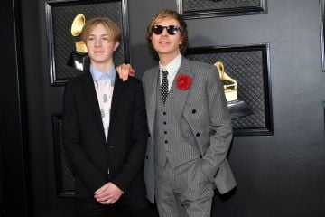 Cosimo Henri (L) and Beck attend the 62nd Annual GRAMMY Awards at Staples Center on January 26, 2020 in Los Angeles, California. (Photo by Amy Sussman/Getty Images)