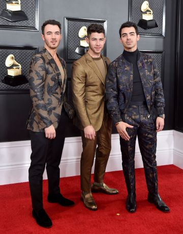 (L-R) Kevin Jonas, Nick Jonas and Joe Jonas of Jonas Brothers attend the 62nd Annual GRAMMY Awards at Staples Center on January 26, 2020 in Los Angeles, California. (Photo by Axelle/Bauer-Griffin/FilmMagic)